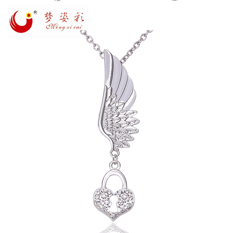 Mengzicai Jewelry Store MZC Bulgaria Jewelry Silver Plated Wing Heart Key Lock Necklaces for Female Long Neckless Colar Masculino Bijoux Colier Femme