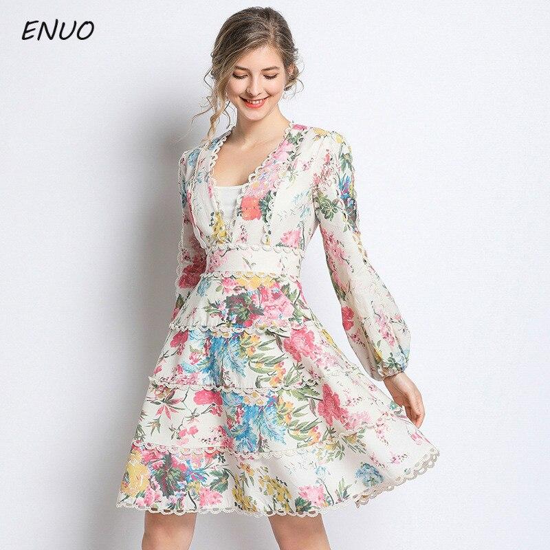 Femmes imprimé Floral plage robe dentelle gland mode Boho coton robes dames Vintage robe de soirée à manches longues robes