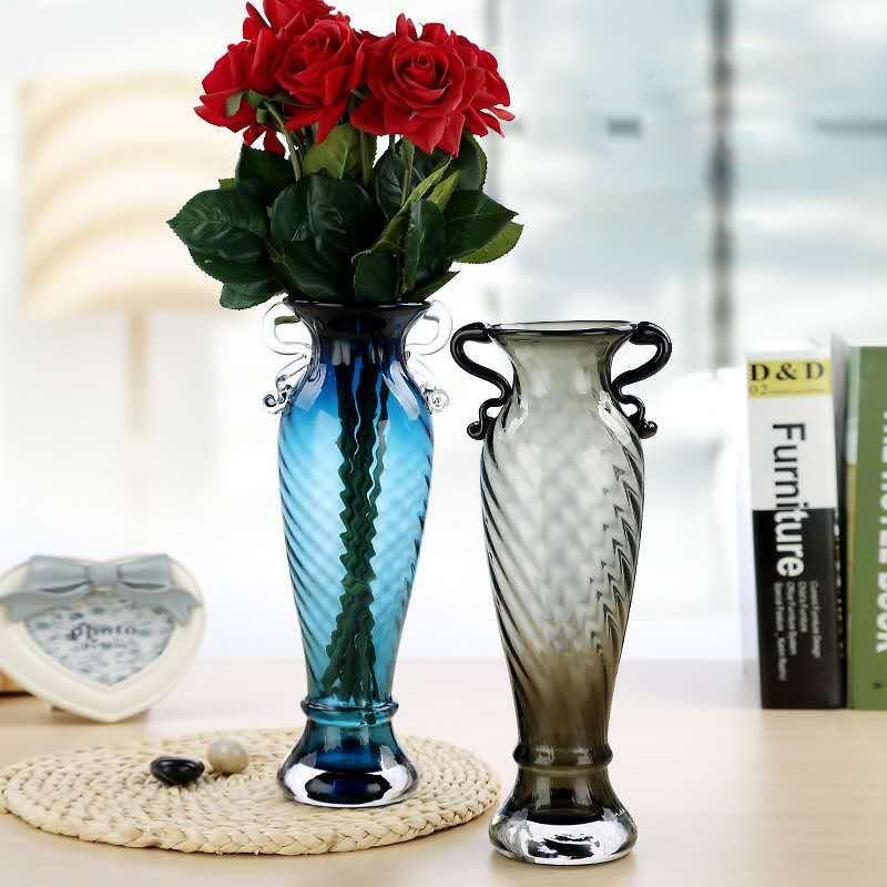 Modern brief handmade multicolour transparent glass vase dried flowers vase desktop decoration accessories Mermaid tail shape