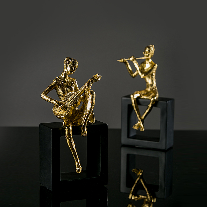 Music Man Golden Plating Desktop Ornament Creative Home Accessories Resin Bedroom Furnishing, Best Gift R108