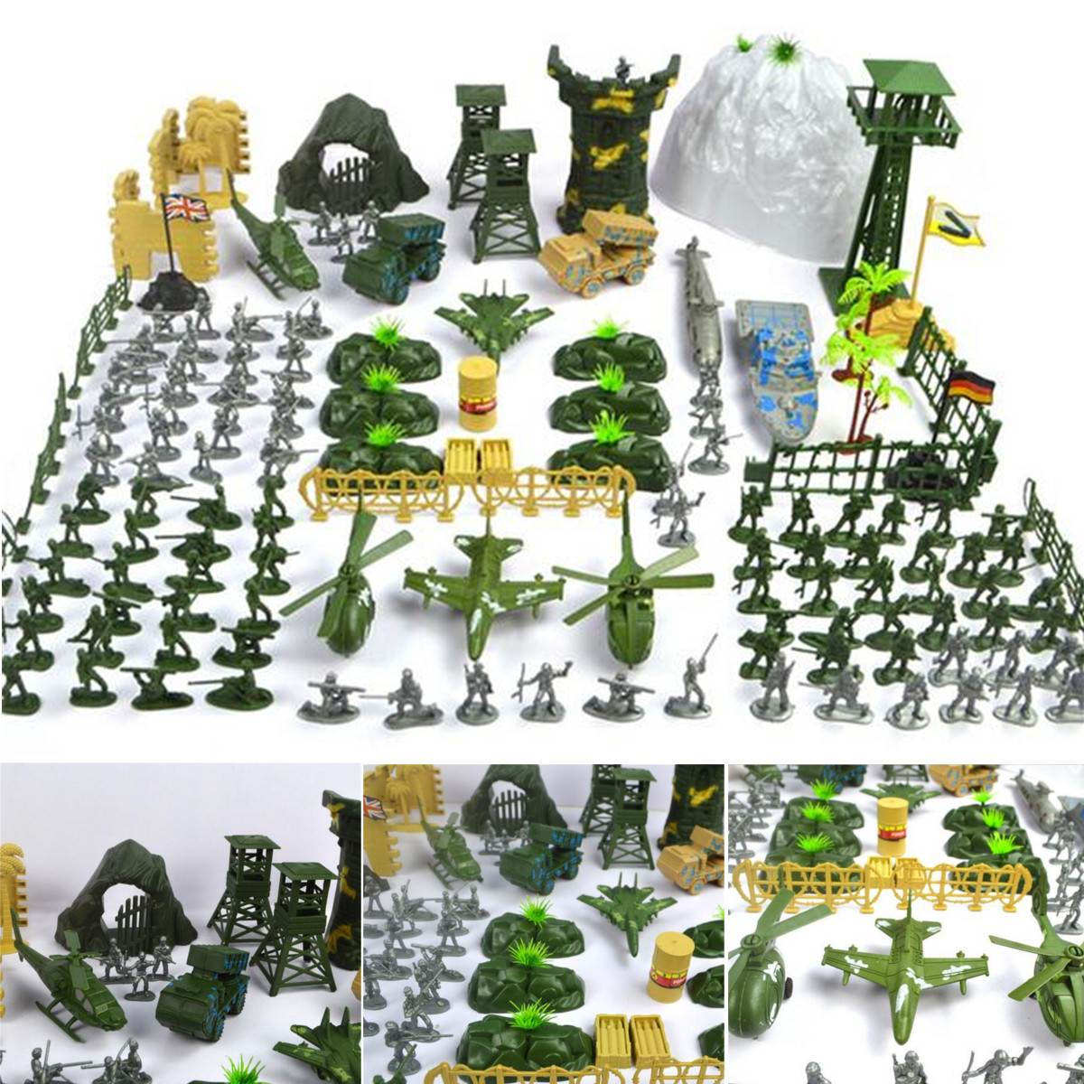 New Arrival 150 pcs/set Military Plastic Toy Soldier Army Men Figures & Accessories Playset Kit Gift Model Toy For Kids Boys