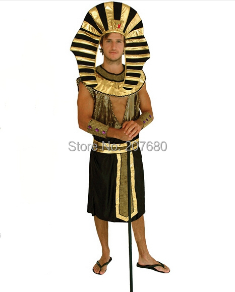 New Mens Egyptian King Pharaoh Costume Cosplay Halloween Fancy Dress Up
