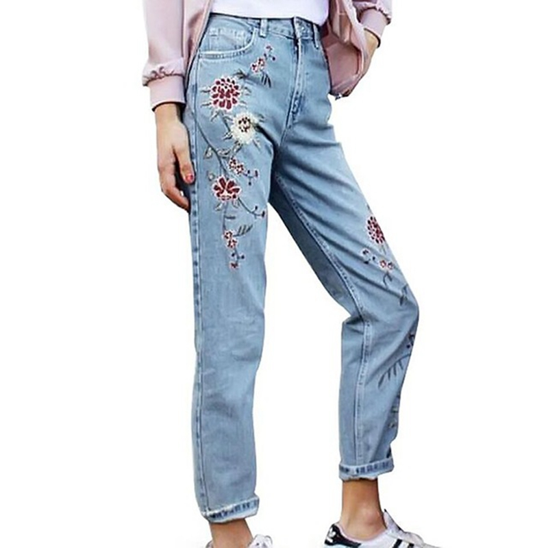 Elegant Flower Embroidery High Waist Jeans Female Casual Pants Capris Autumn Winter Pockets Straight Jeans Women Bottom 2017 flower embroidery jeans female blue casual pants capris 2017 spring summer pockets straight jeans women bottom a46