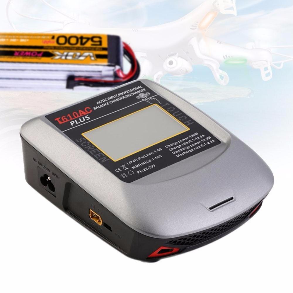 ФОТО T610AC PLUS 100W 10A Touch Screen AC/DC LiPo Balance Charger Dual High Power