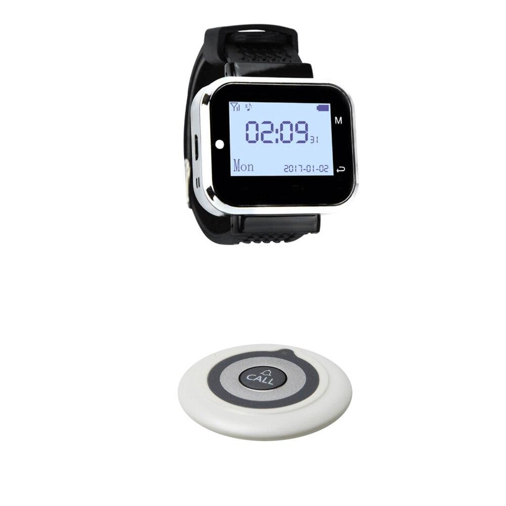 JINGLE BELLS 1 Call Button 1 Watch pager Receiver Wireless Service Call Bells Wireless Restaurant Guest