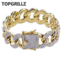 TOPGRILLZ Hip Hop Iced Out Bling Jewelry Gold Color Micro Pave Cubic Zircon Bracelet 18mm Width