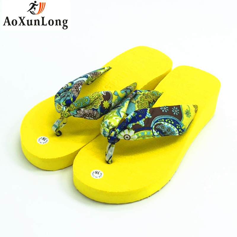 Summer Slippers Women Bohemia Fashion Flip Flops Women Height increase Wedges Flat Shoes Red Home Slide Flip Flop Size 36-39 7 8 lanshulan bling glitters slippers 2017 summer flip flops platform shoes woman creepers slip on flats casual wedges gold