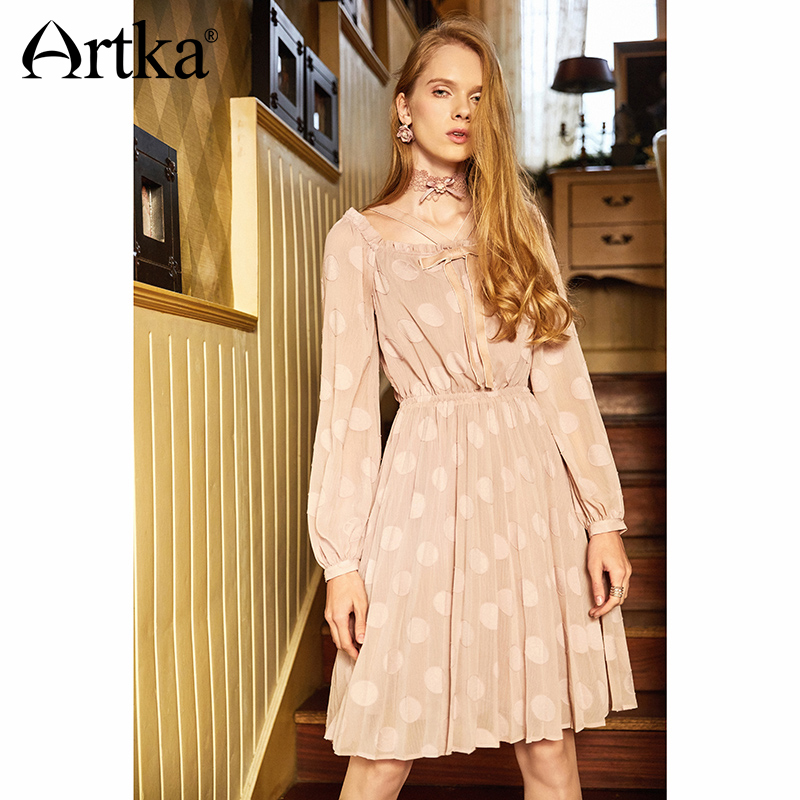 ARTKA Slim Waist Doted Dress LA10688X