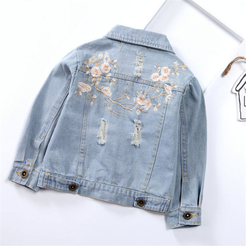 Girls Hole Jeans Jackets Flowers Embroidery Girls Denim Jackets Fashion Kids Jeans Outerwear Blue Thin Coat Children Clothing a three dimensional embroidery of flowers trees and fruits chinese embroidery handmade art design book