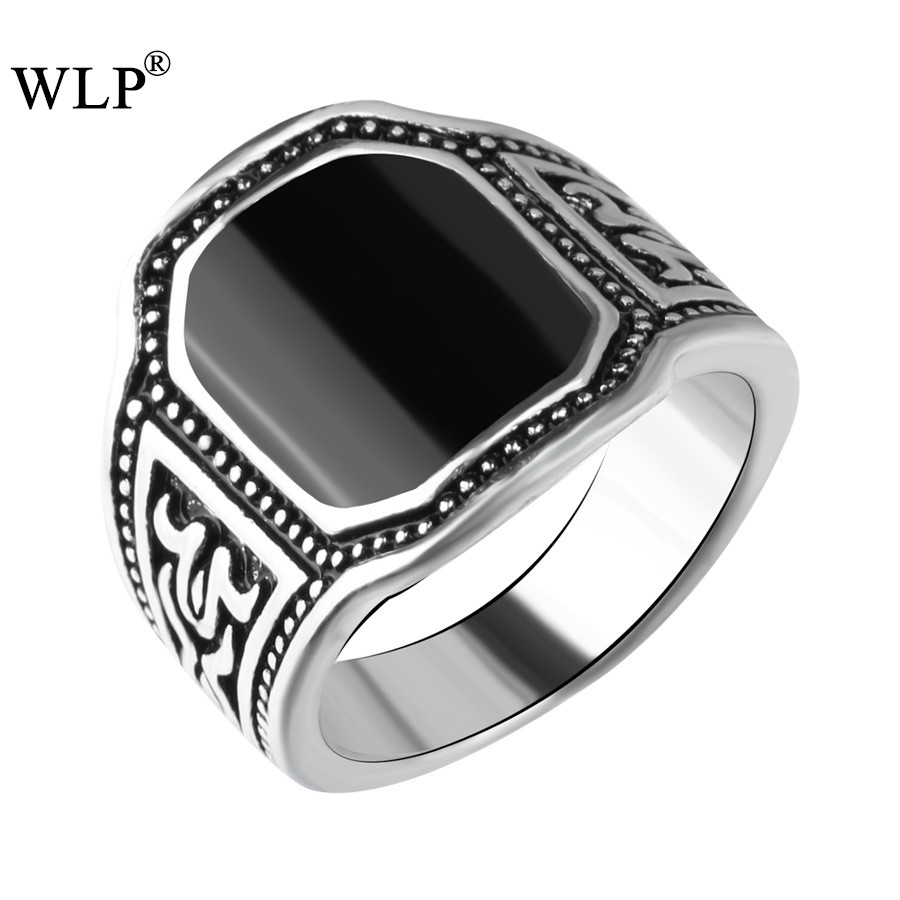 WLP 2018 Boho Bohemian Name Brand Antique Silver Plated Vintage Top Finger Rings Black Resin Previous Stone Women name Rings