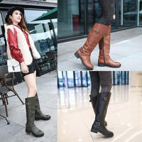 2018 Infant Girls Round Toe Mid Calf Boots Female Matte Leather Knight Boot Girls Buckle Low