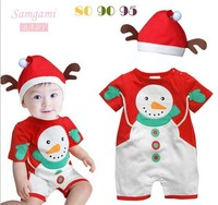 Free Shipping Baby Christmas Romper Baby Romper Dress Cap Polar Fleece Fabric Thickening Romper Hat Set