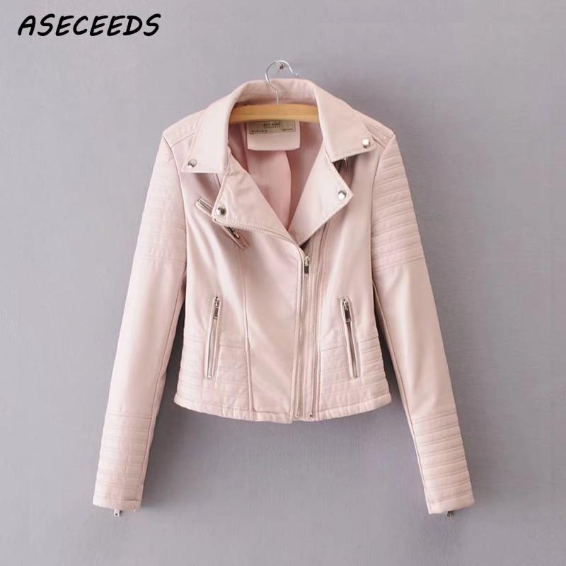 Women spring zipper ladies motorcycle coat punk jackets Faux   leather   pu jacket 2018 long sleeve biker jacket Street outwear