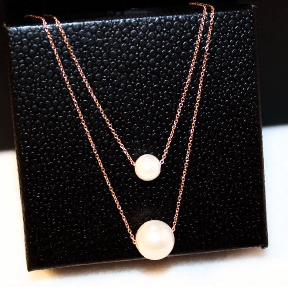 aeffbe4320da4d Double Layers Simulated Pearl Necklace Women Bijoux Simple Short Design Rose  Gold-color Necklaces & Pendants Cute Gift