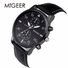 Fashion Casual Mens Watches Luxury Leather Business Quartz-