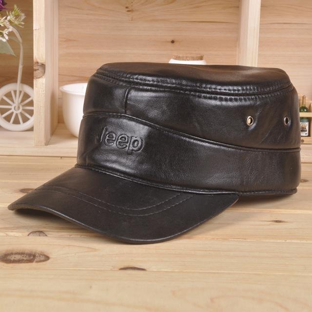 100% couro genuíno dos homens preto ajustável Casual Baseball esporte chapéu boné de golfe B-0573