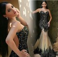 Vestido De Festa Mermaid Evening Dress 2017 Sheer Neck Sleeveless Sheer Back Sweep Train Sequin with Beaded 2016 Evening Dress