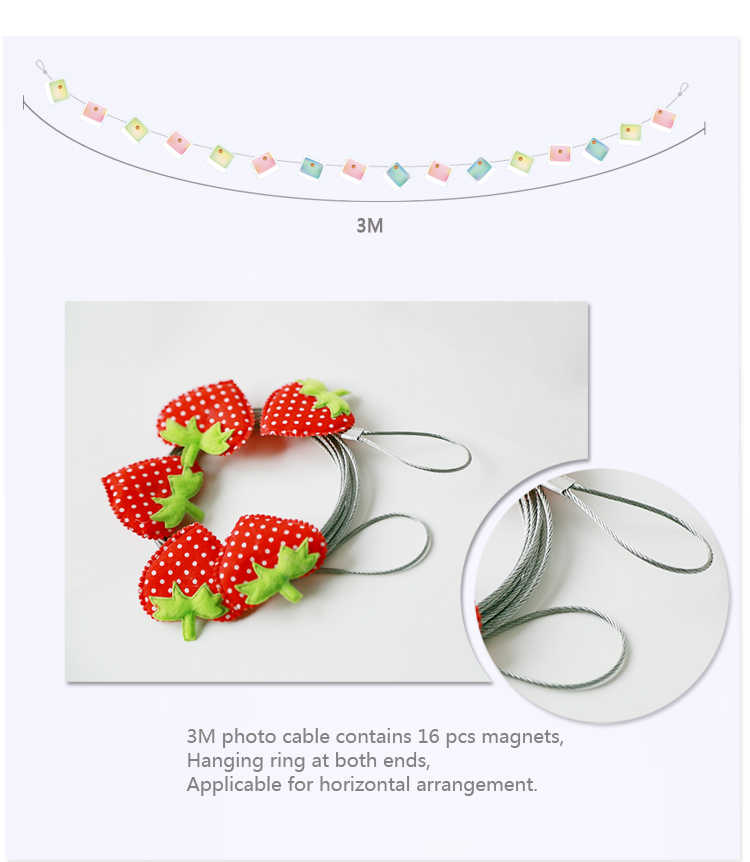2pcs 3M High Quality Silver Magnetic Cable Photo Or Card Holder With 16 Net Magnetic Buckle Image Magnet Anniversary Decor