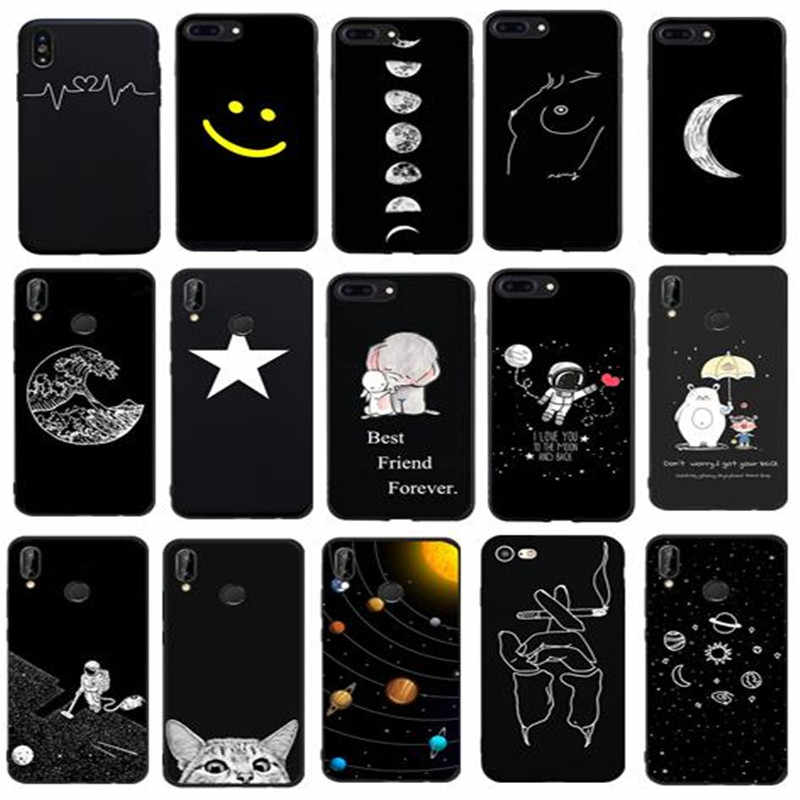 Cute Planet Print Soft Silicon Case For Mate 10 20 Pro Cover For Huawei p smart 2018 P20 mate 10 p10 lite p20 lite Cover capa