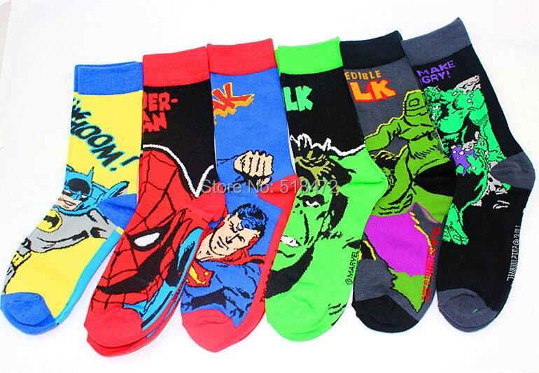 American Popular Style Socks Men The Avengers Super Hero Socks Batman Spiderman Long Feet Socks Men Brand Cool Skate Soks