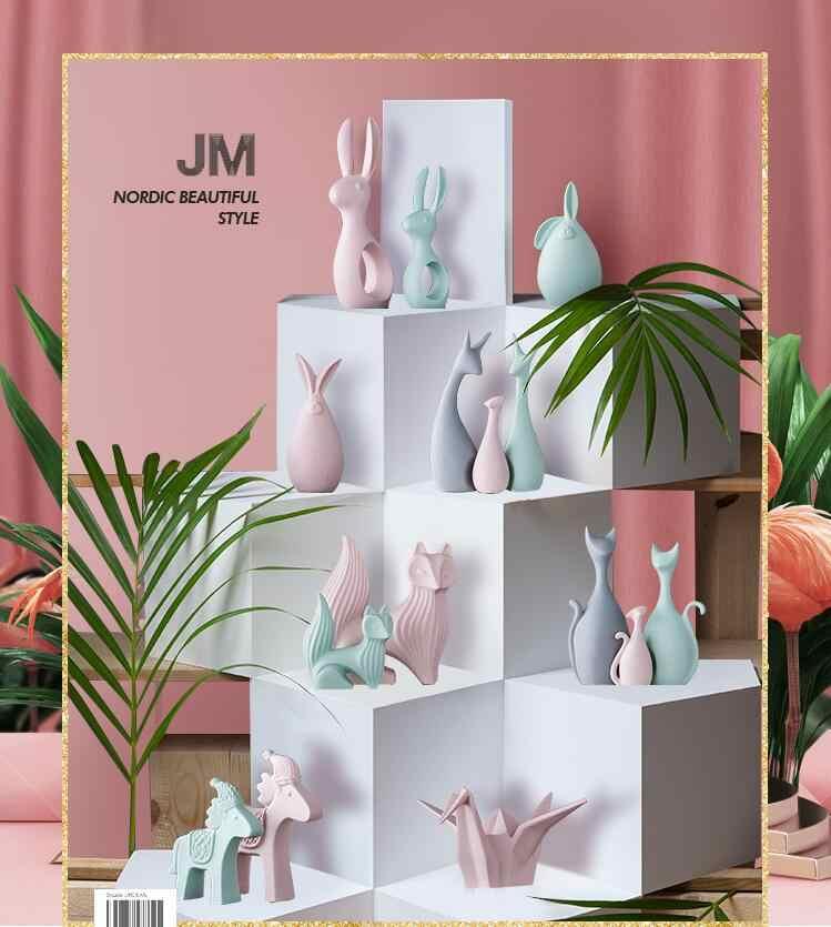 Nordic Pink White Ceramic Deer Rabbit Figurines Home Decoration Crafts Livingroom Desktop Animal Ornaments Modern Wedding