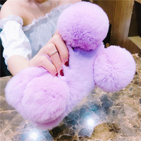 Luxury 3D Fur Ball Gift Cover Woman Lady Fluffy Winter Warm Wool Rabbit Hair Gift Case