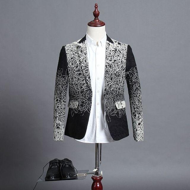 2016 Winter Gentleman Suit Men Luxury Floral Blazer Luxe Unique Costume Homme Casual Vintage Suit Jacket 5-6XL 72302