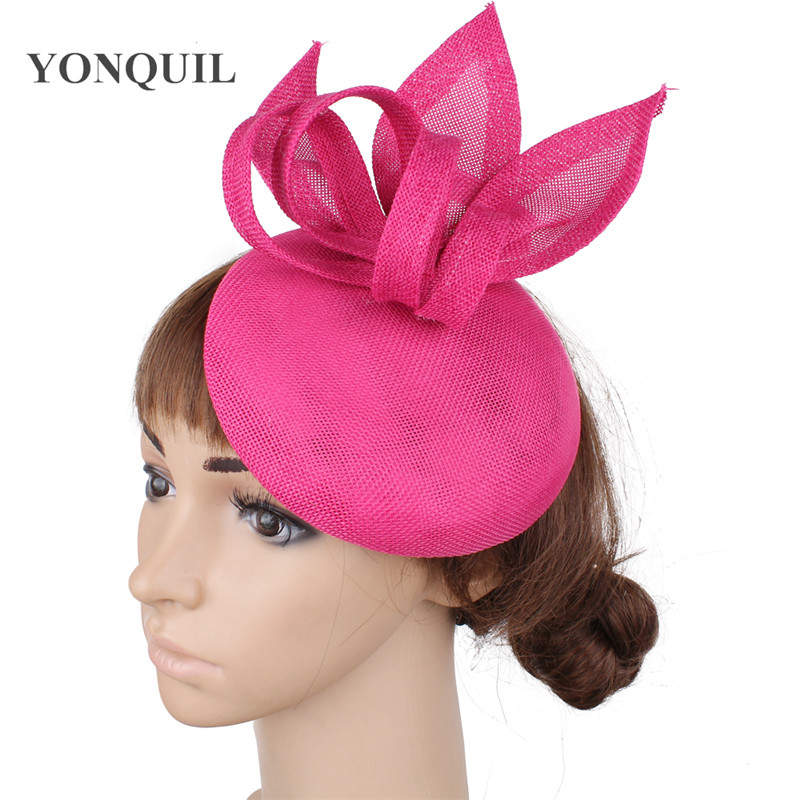 Винтажный головной убор цвета хаки, головной убор Sinamay, головной убор для особых случаев, шляпа Кентукки Дерби, церковная Свадебная вечеринка, гонка, высокое качество - Цвет: hot pink