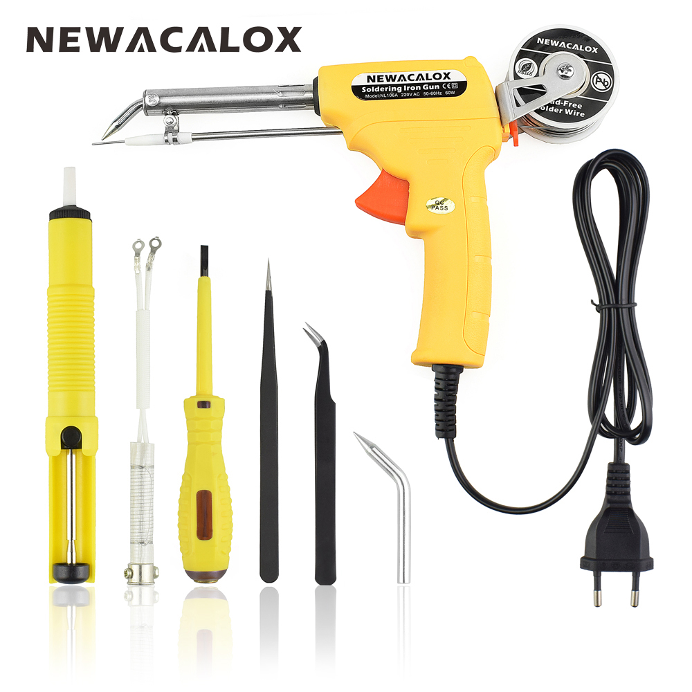 NEWACALOX Yellow EU 220V 60W Hand held Soldering Iron Gun ...