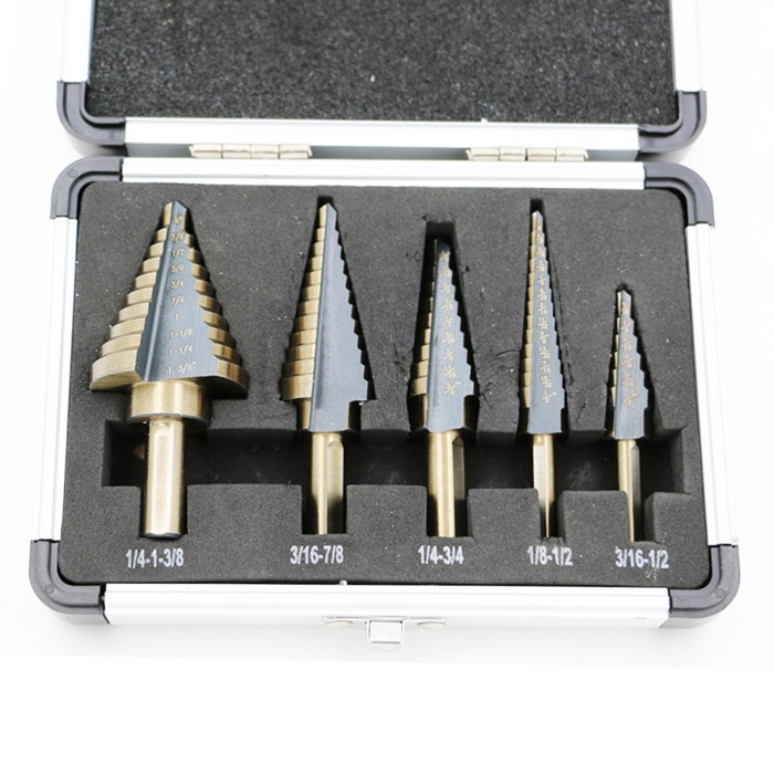 Hot 5pcs HSS Step Drill Bit Kit Set 50 Sizes Cobalt Multiple Hole Drill Cutting Tools With Aluminum Case jelbo 5pcs set hss cobalt multiple power tools step drill bit power tools multiple hole step drill bit set tools set metal