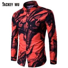 JACKEYWU Casual Shirts Men 2019 Fashion China Style Ink Print Long Sleeve Dress Shirt Slim Cotton Breathable Mens Clothing Red