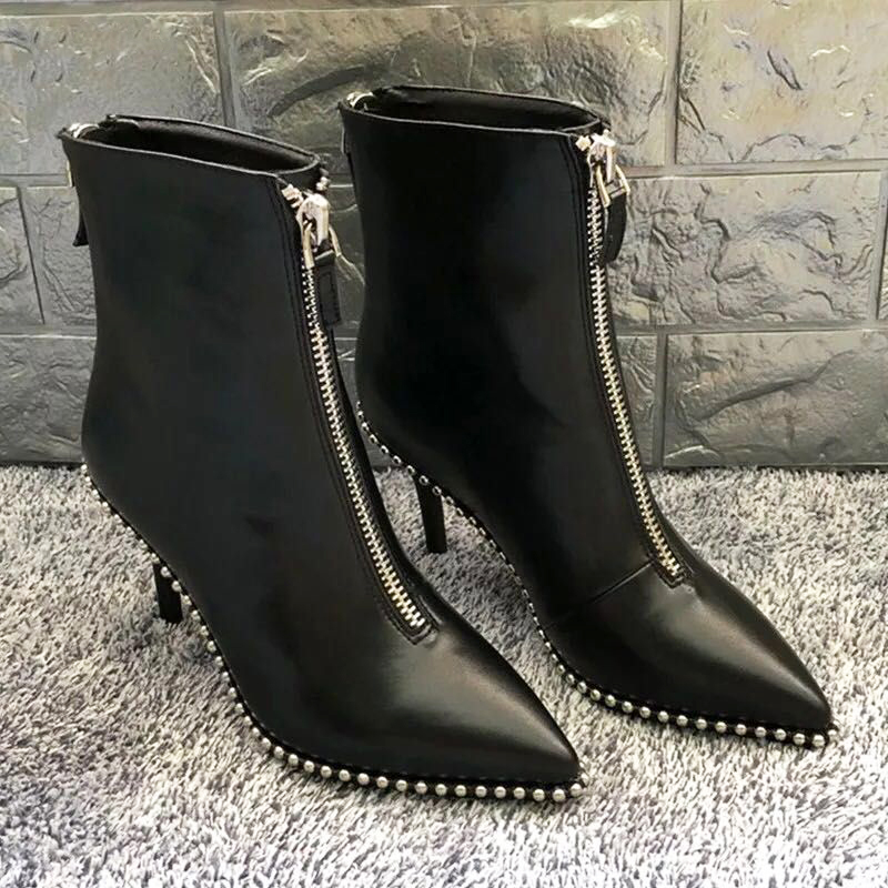 HZXINLIVE Luxury Brand Designer Studded Ankle Boots for Women Sexy Rivet Pointed Toe Women Boots Stiletto