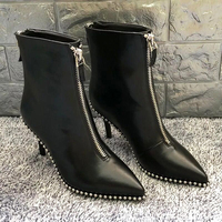HZXINLIVE Luxury Brand Designer Studded Ankle Boots for Women Sexy Rivet Pointed Toe Women Boots Stiletto Punk Boots Shoes Woman