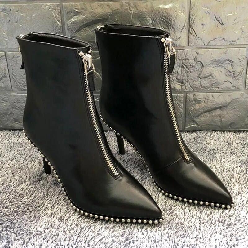 HZXINLIVE Luxus Marke Designer Nieten Stiefeletten für Frauen Sexy Niet Spitz Frauen Stiefel Stiletto Punk Stiefel Schuhe Frau-in Knöchel-Boots aus Schuhe bei AliExpress - 11.11_Doppel-11Tag der Singles 1
