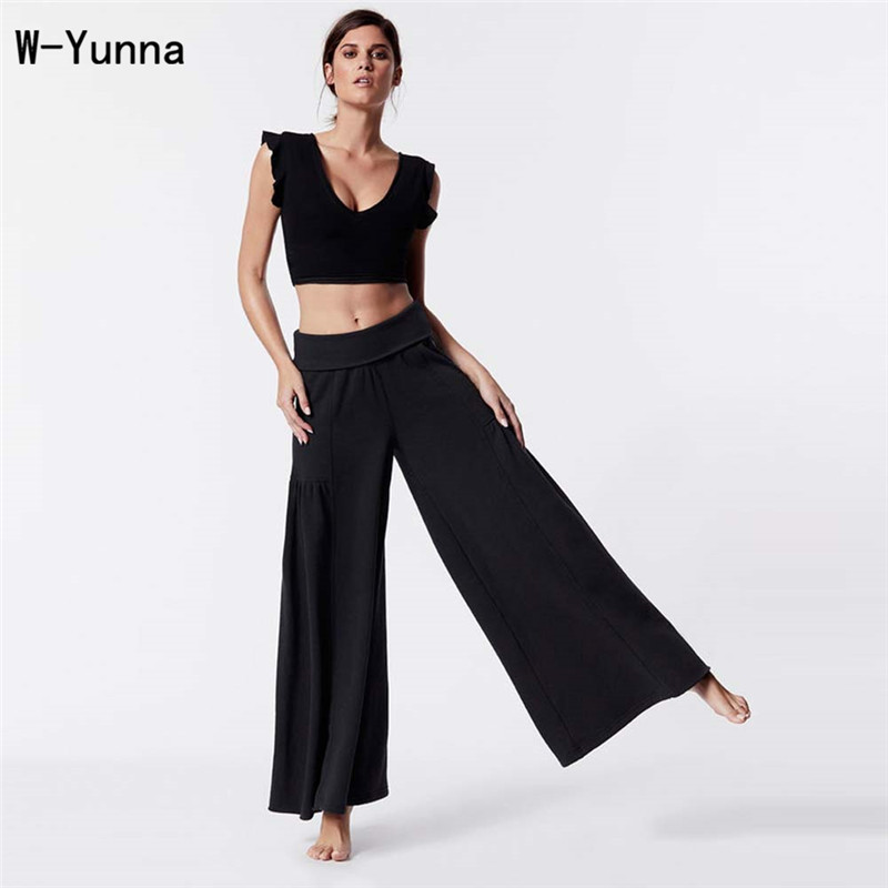 W-Yunna New 2018 Fashion Women Summer Clothing Sexy Round Neck Vest Black Breathable Culottes Solid Color Casual Tracksuit