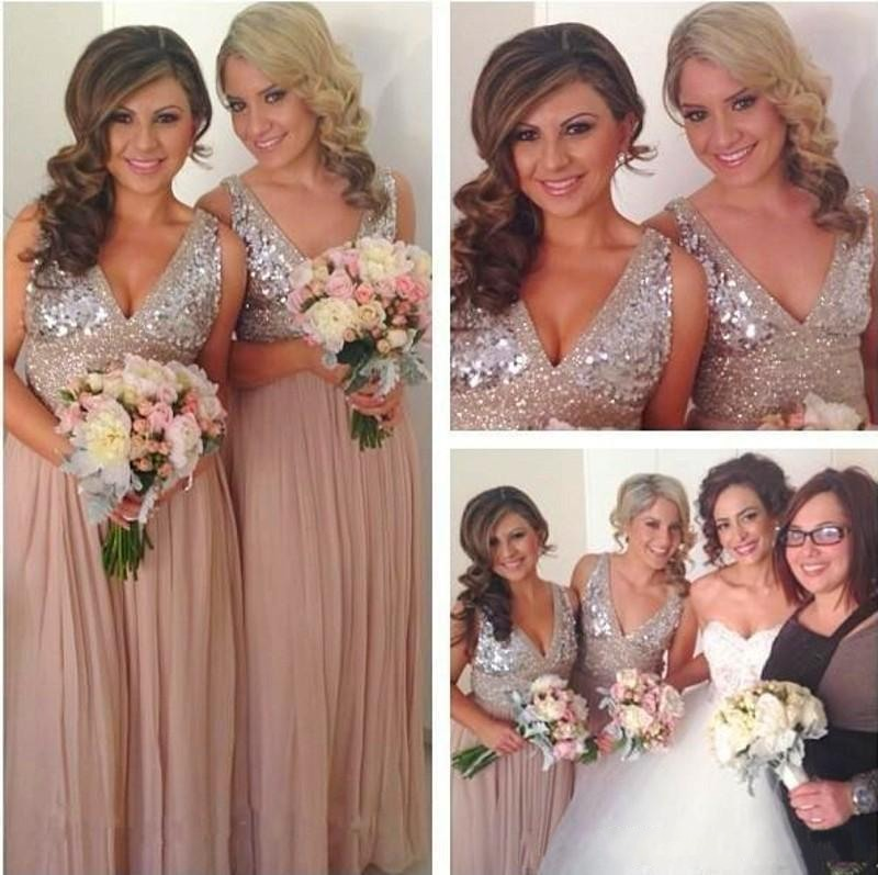 724249cefd9 Sequins Chiffon V Neck Bridesmaid Dresses Plus Size Rose Gold Sparkly Maid  of Honor Bridal Party Gowns Maternity Custom Made