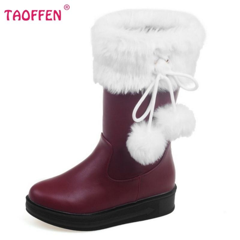 Kadın Düz Orta Buzağı Çizmeler Marka Moda Yuvarlak Ayak Sonbahar kış Bota Kadınsı Kadın Tatlı Kürk Ball Ayakkabı Ayakkabı Boyutu 30-52