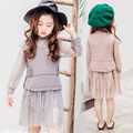 2017 new spring fashion knitting wool vest + lace dress two piece suit Korean version free shipping
