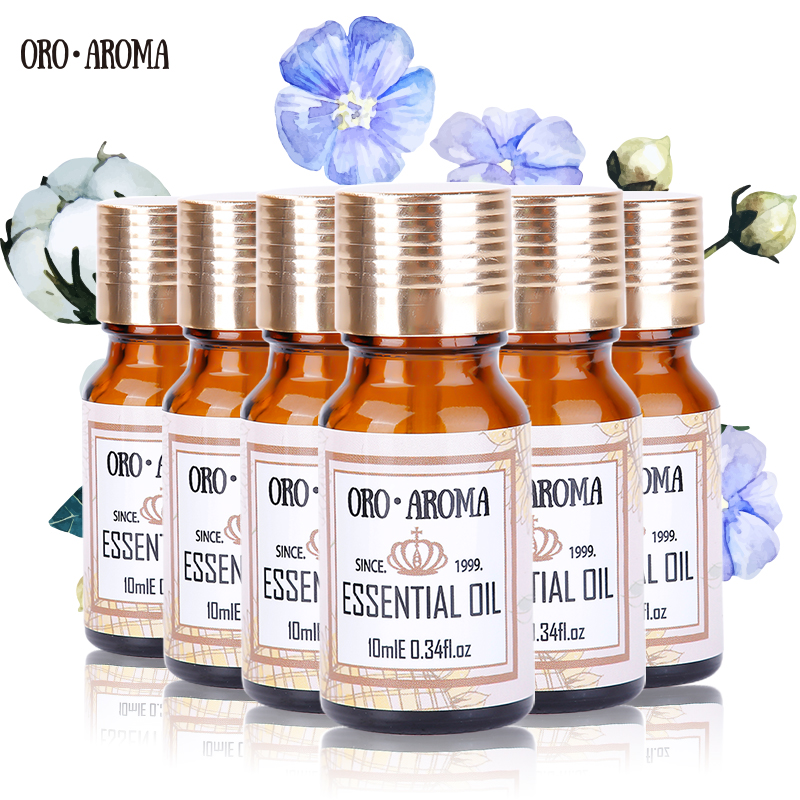 Famous brand oroaroma Musk Peppermint Verbena Grapefruit Ambergris Ginseng Essential Oils Pack For Aromatherapy Spa Bath 10ml*6