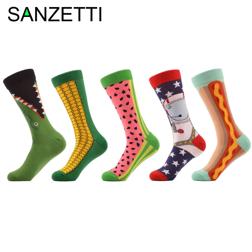 SANZETTI 5 pair/lot Women's Funny Combed Cotton Crew   Socks   Corn Space Man Watermelon Pattern Novelty Ladies Casual Trendy   Socks