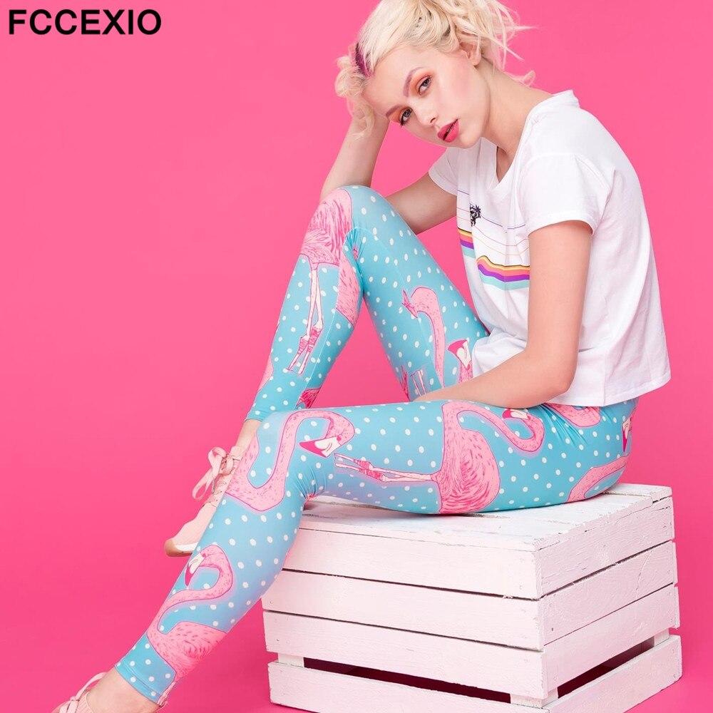 FCCEXIO New 2019 High Quality Women Legging Flamingo Dots Kolor Printing Fitness Slim Leggings Fashion High Waist Woman Pants