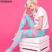 FCCEXIO nowy 2019 wysokiej jakości kobiety Legging Flamingo kropki Kolor drukowanie Fitness legginsy moda wysokiej talii spodnie damskie
