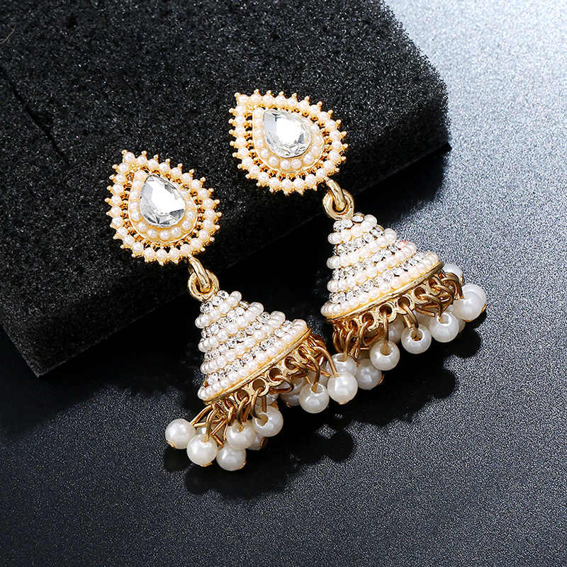 9473382b6 ... 2018 Fashion Faux Imitation Pearl Indian Jhumka Jhumki Drop Earrings  Women Gold Long Chain Wedding Bridal ...