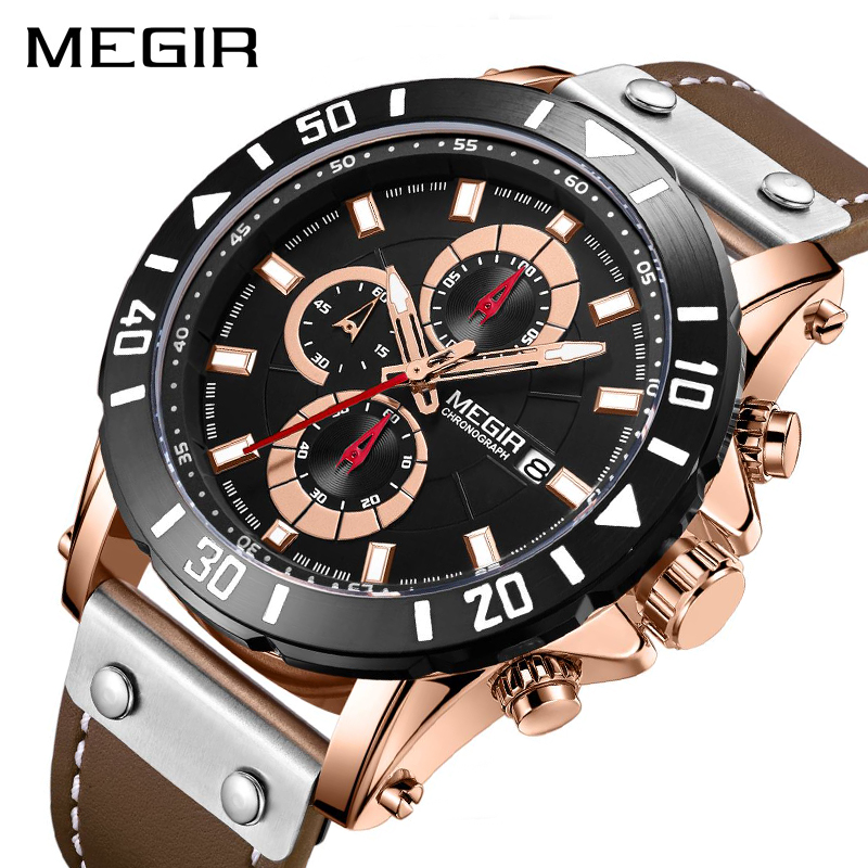 MEGIR Chronograph Sport Mens Watches Top Brand Luxury Leather Quartz Watch Men Clock Wristwatches Relogio Masculino Reloj Hombre megir chronograph sport mens watches top brand luxury leather luminous quartz military watch men clock wrist watch reloj hombre