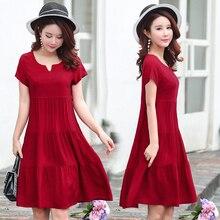 Summer dresses women casual V-neck print vintage vestidos verano 2018 women clothes plus size cotton Female dress