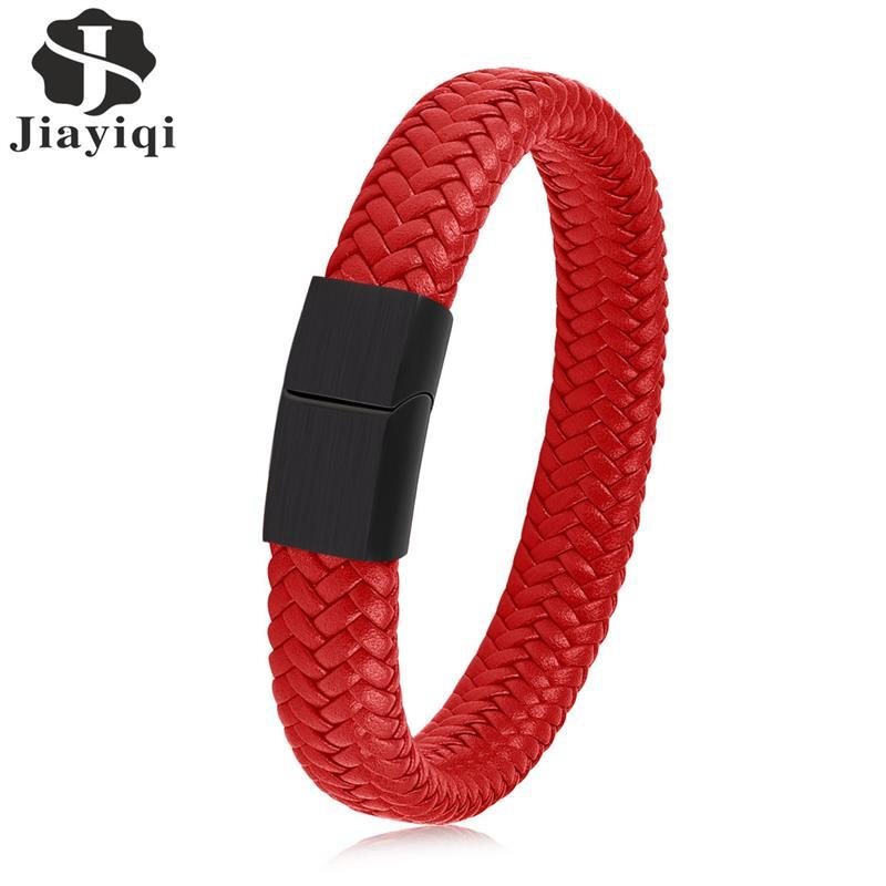 Jiayiqi männer Leder Armband Rot Edelstahl Fleck Magnetische Verschluss Mode Armreifen 18,5/22/20,5 cm