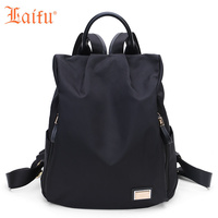 Laifu Brand Design Women Nylon Travel Bag Girls Lightweight Backpack Fashionable Waterproof Traveling Shopping Black