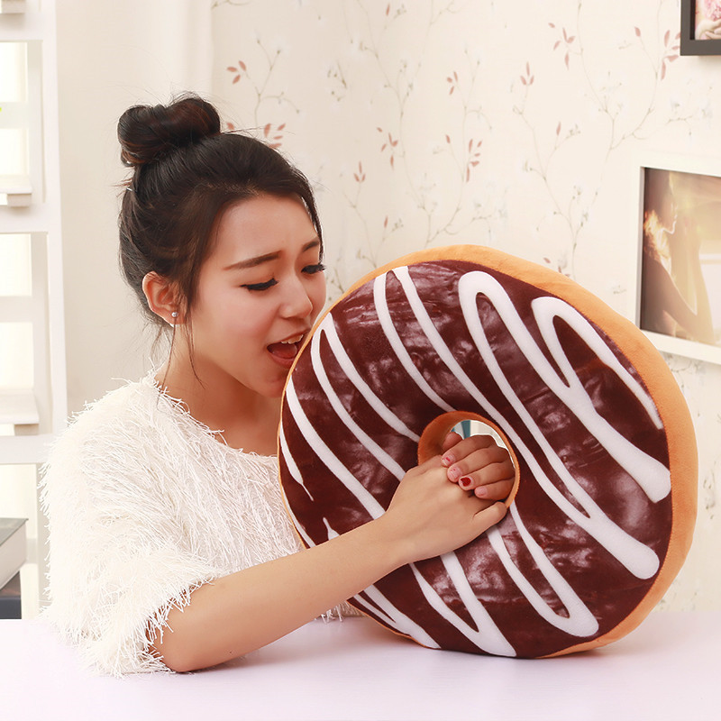 RUBIHOME 3D Design Emulational Doughnut Decorative Cushions Throw Pillows for Sofa Home Decor Shop Hotel Used