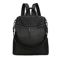 Women S PU Leather Travel Satchel Shoulder Bag Large Student Backpack Black