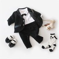 2pcs Baby Boys Gentleman Romper Toddler Boys Long Sleeve Romper Black Solid Outwear Infant Boys Smart